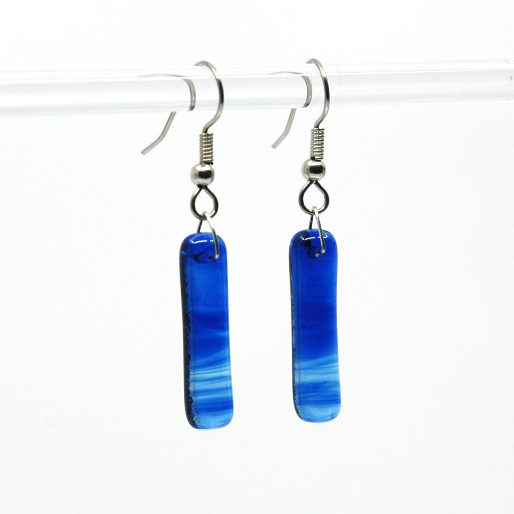 Blue Sky Fused Glass Earrings
