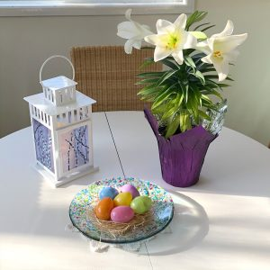 Fused Glass Spring Bowl Centrepiece with Easter Lily and Lantern