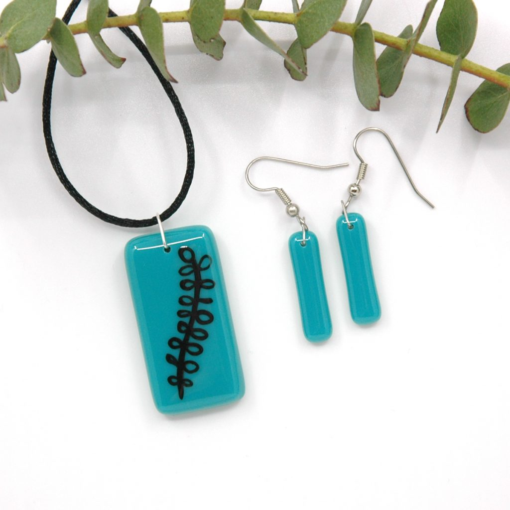 Fused Glass Eucalyptus Jewelry Set with branch