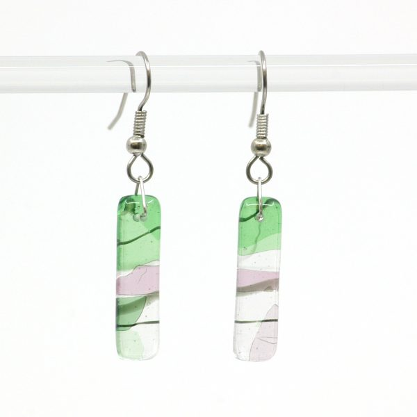 Fused Glass Gaia Earrings with green and pink colours