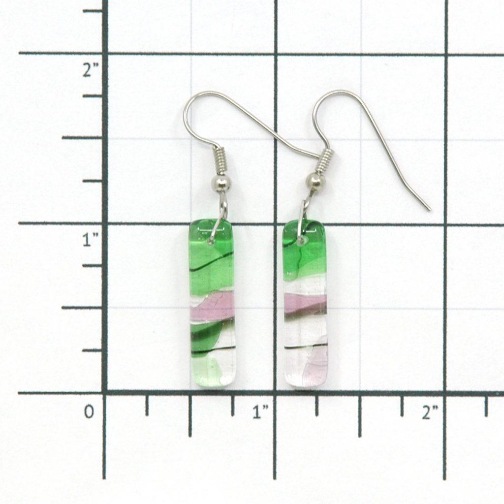 Fused Glass Gaia Earrings Size Grid