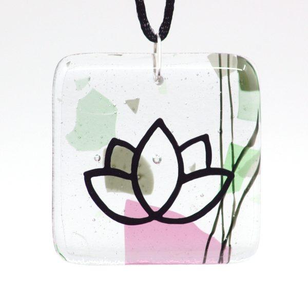 Fused Glass Gaia Lotus Pendant