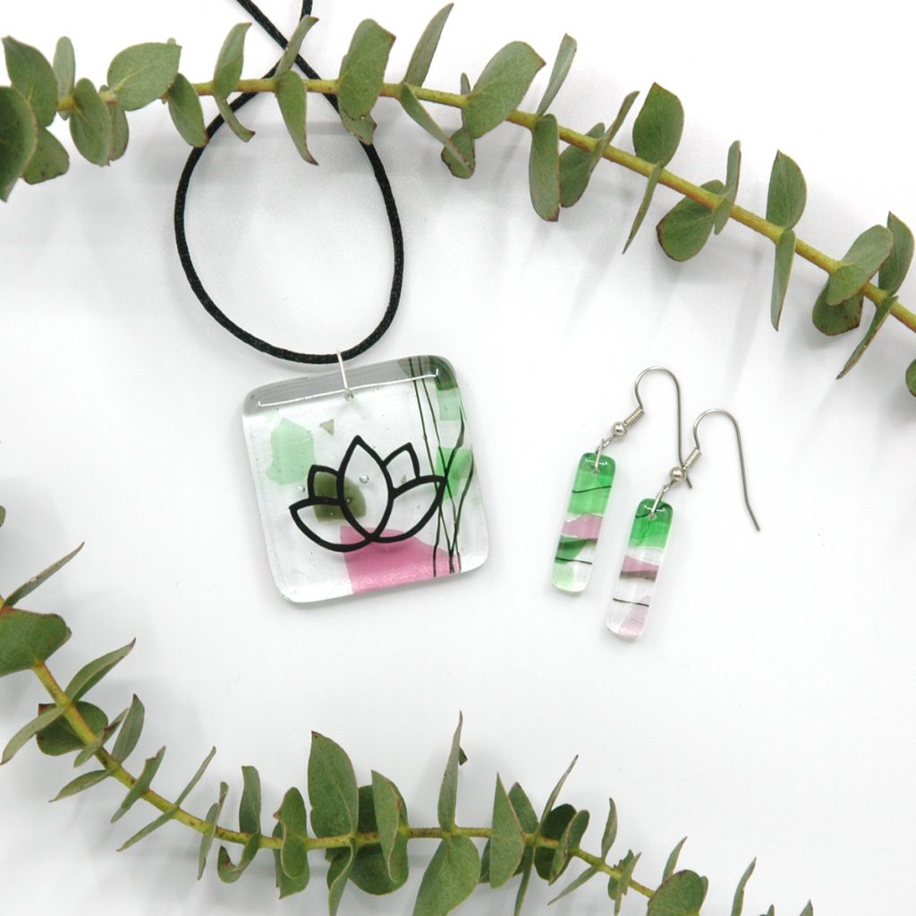 Fused Glass Gaia Lotus Pendant and Gaia Earrings with branches