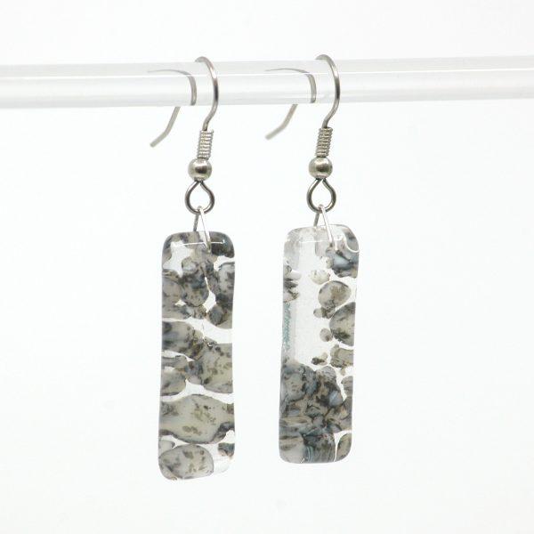Fused Glass River Rock Earrings