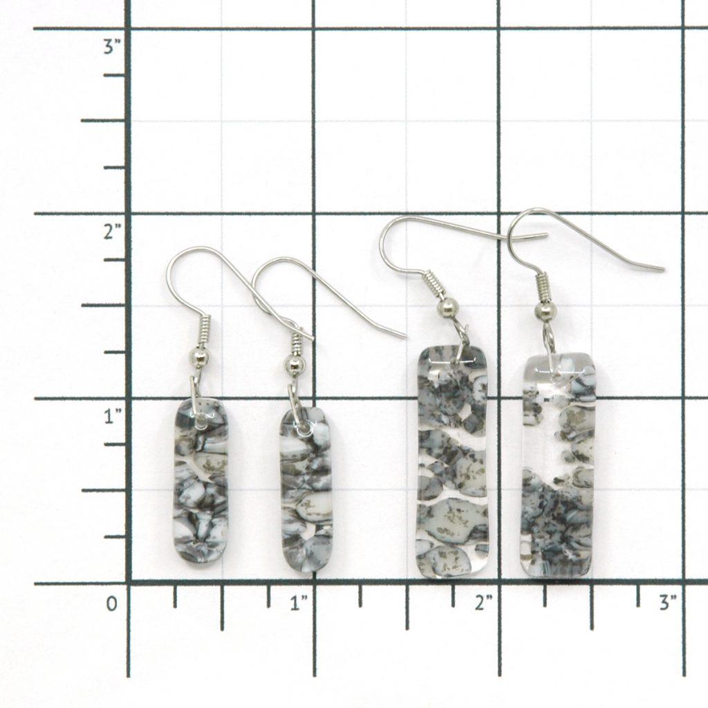 Fused Glass River Rock Earrings Size Grid