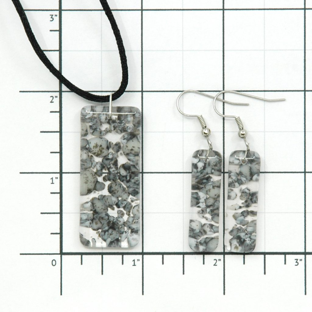 Fused Glass River Rock Pillar Jewelry Set Size Grid
