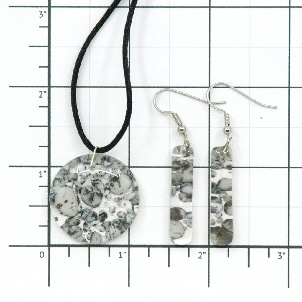 Fused Glass River Rock Round Jewelry Set Size Grid