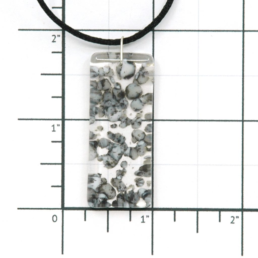 Fused Glass River Rock Pillar Pendant Size Grid