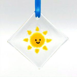 Smiling Sunshine Fused Glass Window Sun Catcher