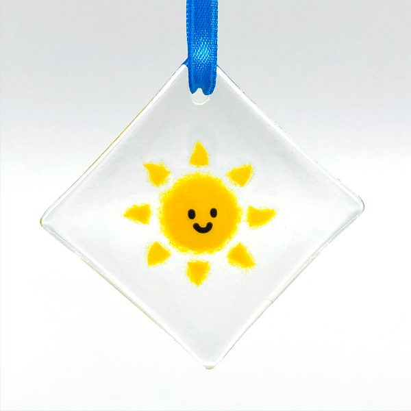 Smiling Sunshine Fused Glass Window Sun Catcher
