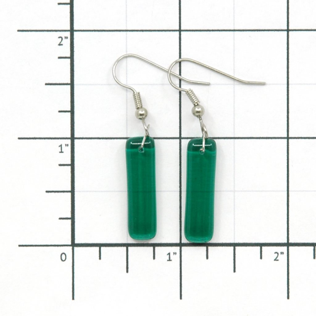 Fused Glass Tranquil Teal Earrings Size Grid
