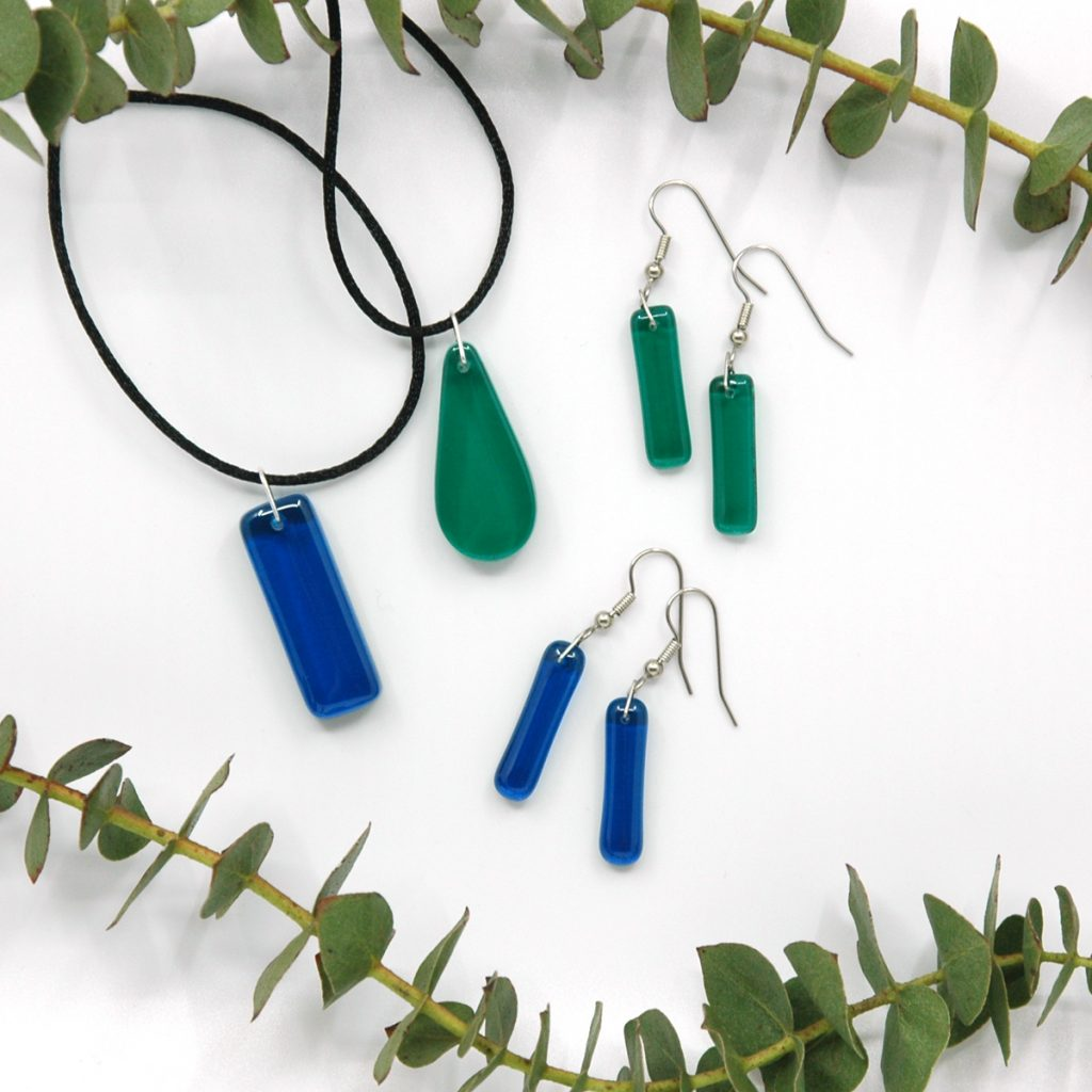Tranquil Teal and Turquoise Waters Fused Glass Jewelry with Eucalyptus Branches