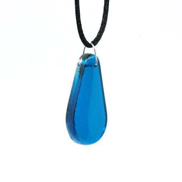 Fused Glass Turquoise Waters Teardrop Pendant