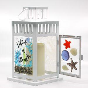 Life's A Beach Fused Glass Lantern