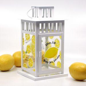 Summer Citrus fused glass lantern