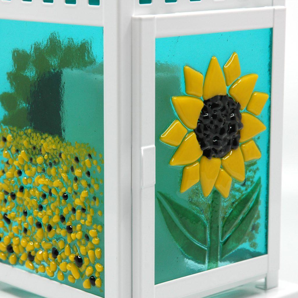 Sunflower Fields Fused Glass Lantern