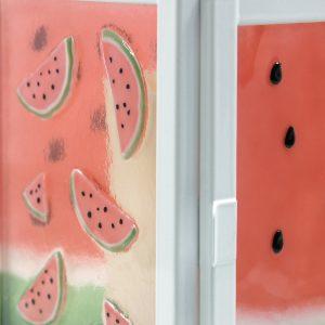 Watermelon Splash Fused Glass Lantern Closeup