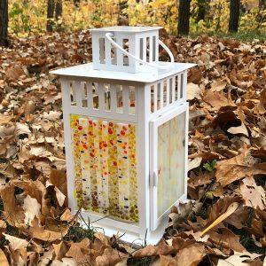 October Birch Lantern in fallen leaves